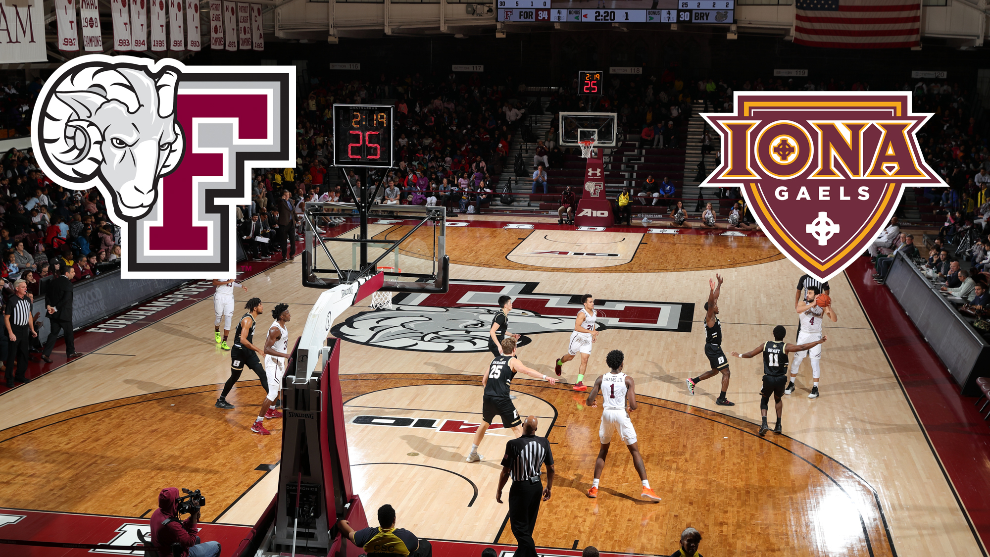 Rose Hill Gym with Fordham and Iona logos