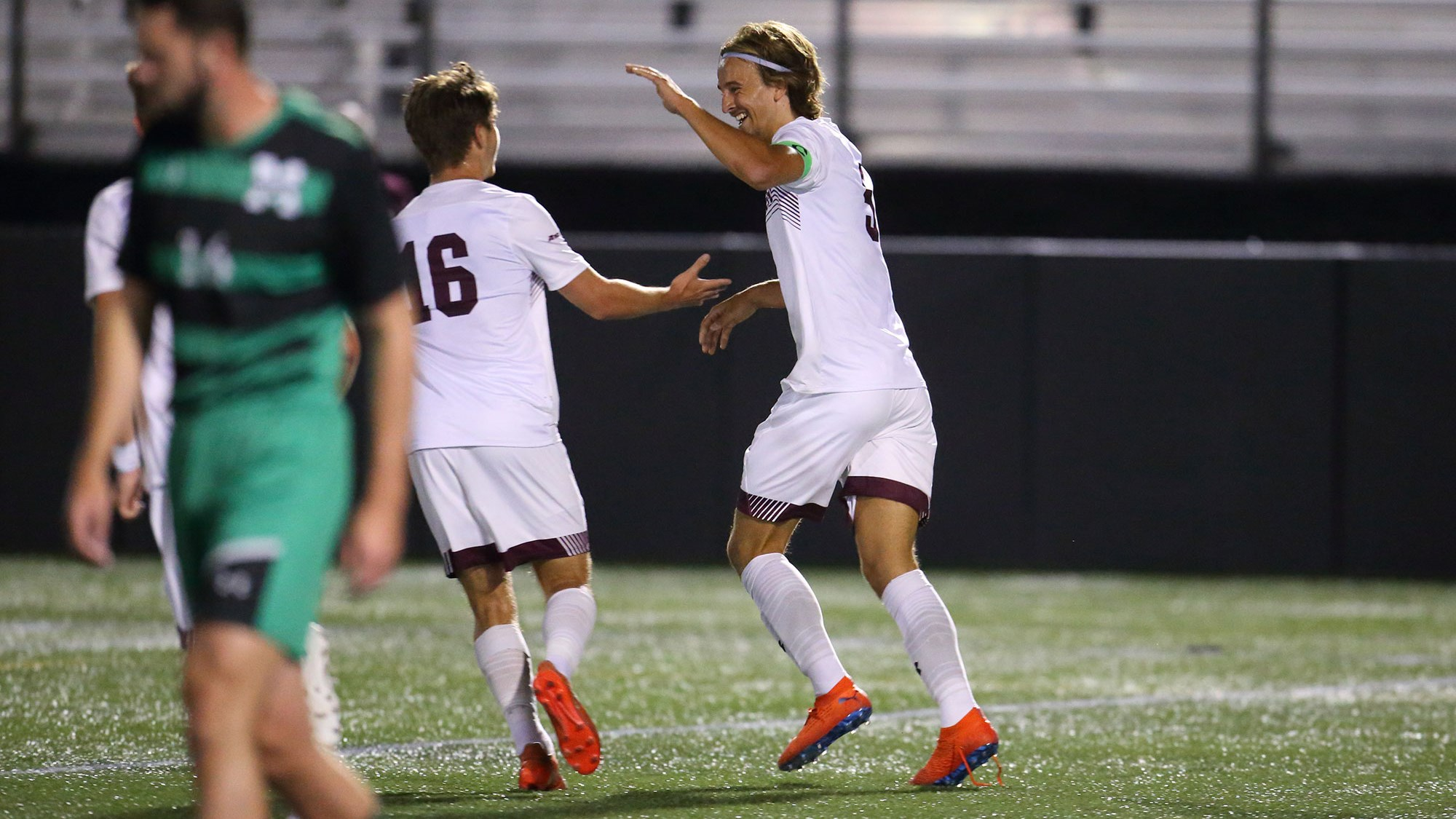 Joergen Oland celebrates after netting his fourth goal of the year.