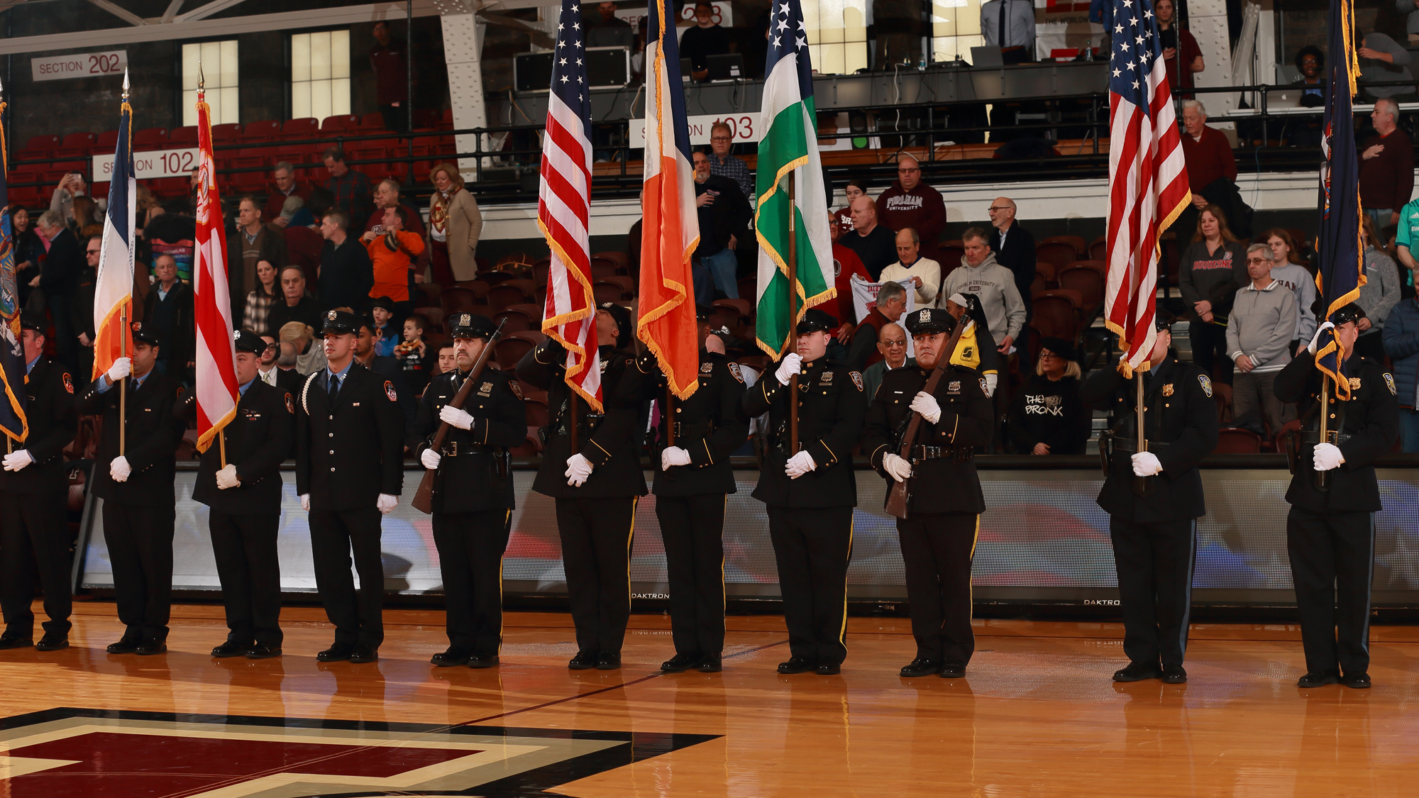 Color guards from the NYPD, FDNY and PAPD