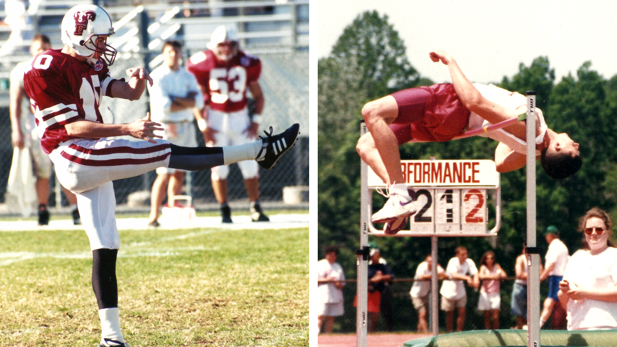 Barry Cantrell punting and high jumping