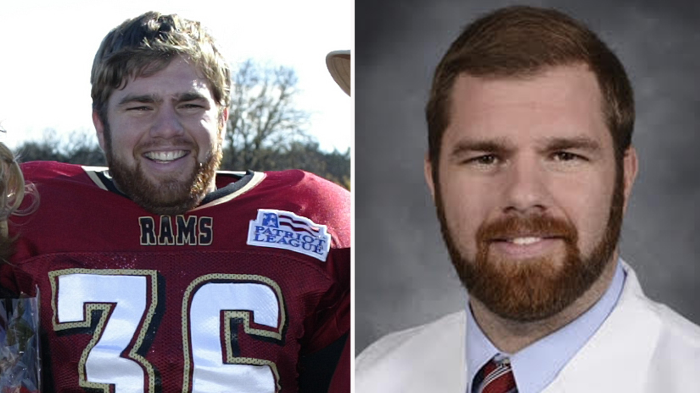 Rob Graebe as a player at Fordham and as a doctor