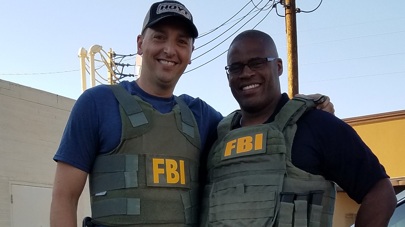 Jeremy Capello (left) with a fellow FBI agent
