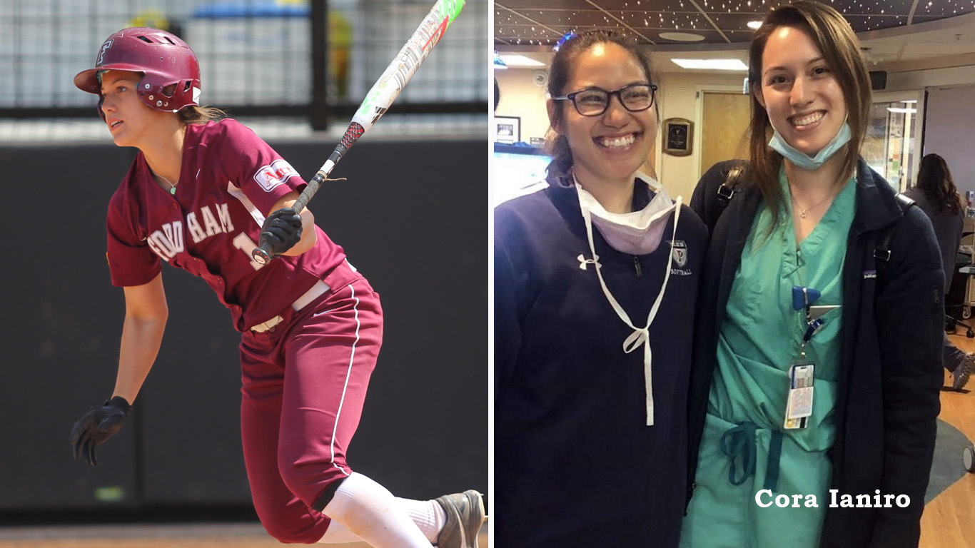 Cora Ianiro in action with the softball team in 2015 and at the hospital today