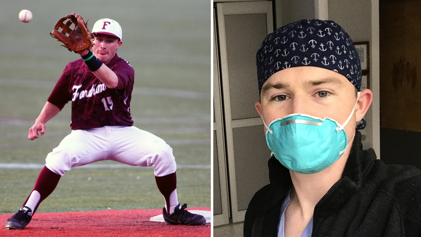 Rob McCunney in action at shortstop and in the hospital