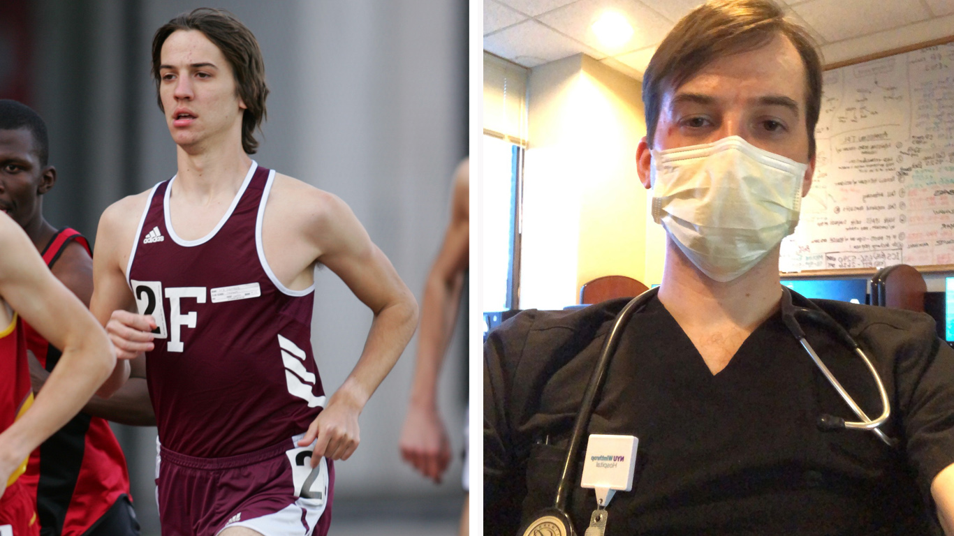 Photos of Erik Lawrence as a runner and doctor