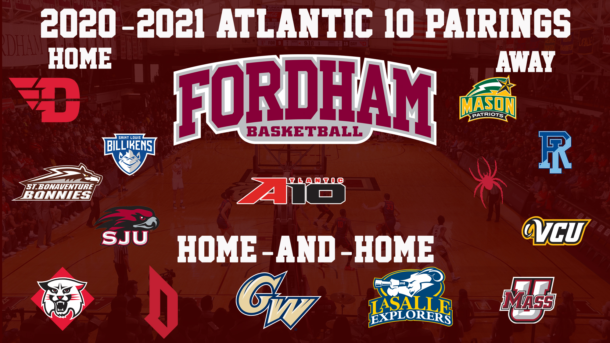 2021 Men's Basketball A-10 Schedule graphic