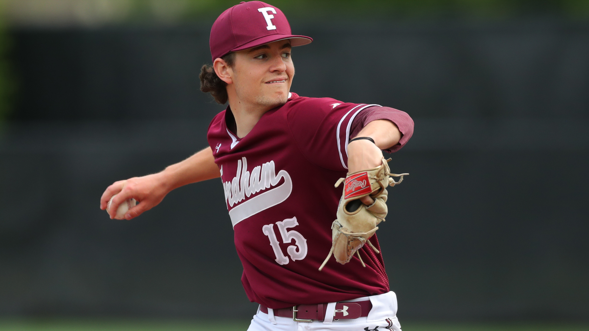 Gabe Karslo throws a pitch vs. UMass